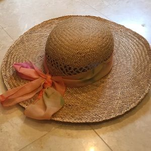 Straw hat with scarf detail